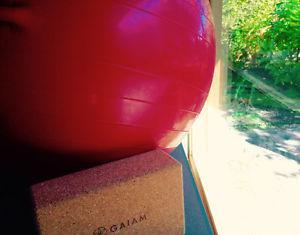 Fitness Ball and Yoga Brick
