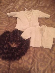 Sweaters and faux fur shawl. West Kelowna