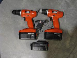 2 Black and Decker 18 volt drill/driver