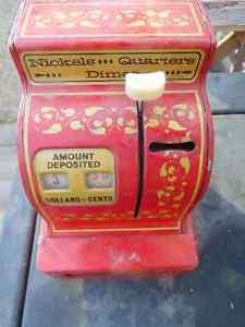 BUDDY-L Tin Litho EASY-SAVER 3 COIN CASH REGISTER bank