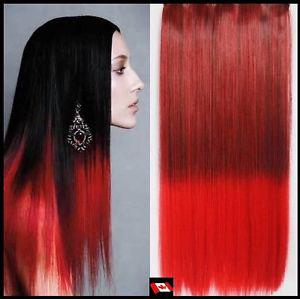 "Clip in hair extension, Straight hair, 60 cm, 24"", RED OMBRE"