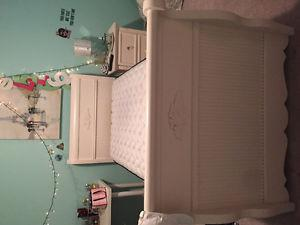 Girls bedroom set includes sleighbed,armoire and nightstand