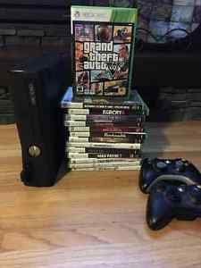 Xbox 360 console, 14 games and 2 controllers