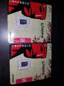 2 Kingston 64 gigabyte micro SD HC card
