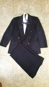Boys Dark Blue 2 pce Suit c/w White Tux Shirt & Blue Bow Tie
