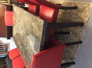 Marble Top Dinning Table and 6 Chairs