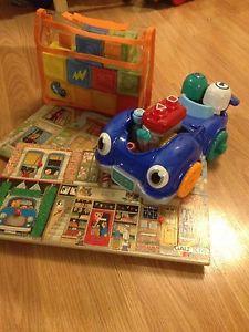 Wooden puzzles, alphabet blocks, leapfrog car
