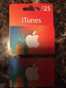 2 iTunes gift cards. 25$ each