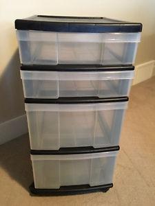 Four Drawer Storage Bin System on Wheels