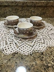 Three Johnson Bros Antique cups and saucers set