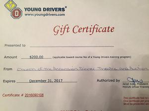 Young Drivers of Canada Gift Certificate
