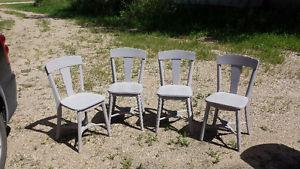 4 antique solid wood chairs