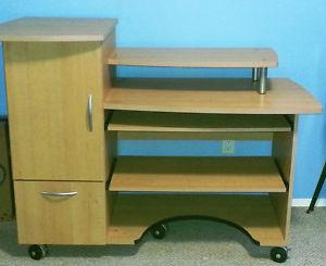 Computer desk with storage and filing cabinet