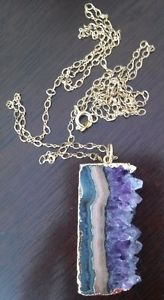 Raw Amethyst Pendant Necklace with Gold Leaf