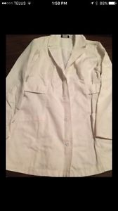Size large lab coat and three sets of white scrubs