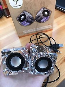 USB Crystal Clear Cube Speakers (Gadgetree)