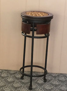 Wood and Wrought Iron Accent Table