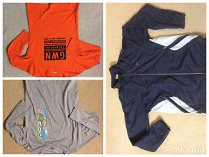 2 work out shirts and a light active wear jacket