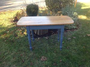 Antique Pine Table with Painted Legs