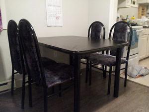Black Dining Table Set - 4pc