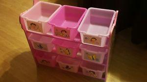 For Sale: Dora Storage rack with bins.