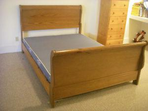 Queen size Sleigh Bed frame with deluxe mattress and