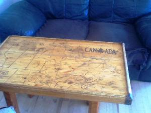 ANTIQUE coffee table with handmade map off Canada
