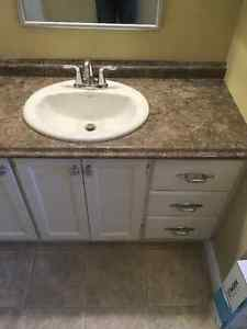 Bathroom vanity counter top and two side cabinets