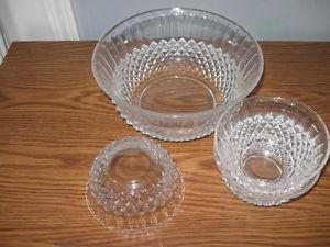 Crystal Fruit Bowl with 6 smaller bowls