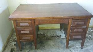 Large solid oak desk