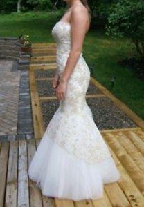 Prom/wedding mermaid dress cream and gold