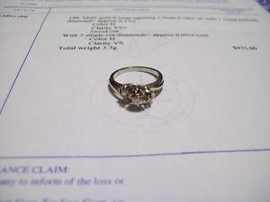 14K WHITE GOLD DIAMOND RING. ESTATE.