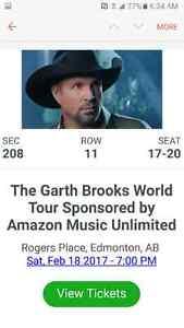 Garth Brooks tickets Feb 18 7pm S:208 R:11 Seats