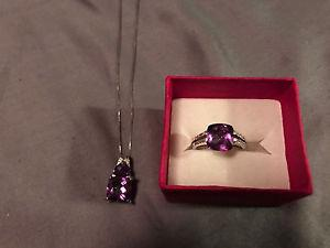 Gorgeous Amethyst Necklace & Ring Set 14K Solid White Gold