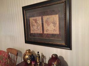 Large framed maps picture