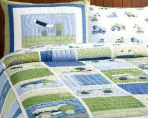 Pottery Barn Construction quilt and Shams plus wall art