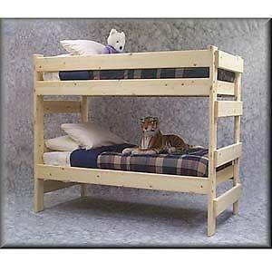 Single size wooden bunk bed with two mattress for sale for