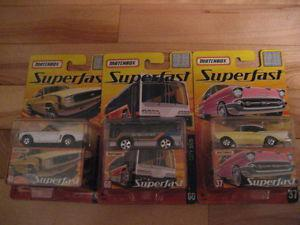 3 Matchbox Superfast carded cars, unopened