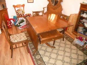 Antique table and chairs $200