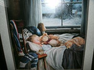 Cute framed print of boy sleeping with hockey gear