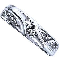 Womens 0.15 Carat TW, 10k White Gold Diamond Wedding Band sz