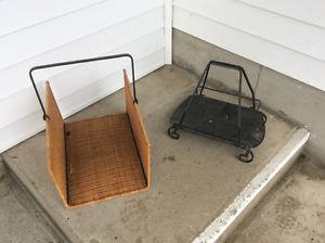 wicker w/ metal frame OR wrought iron firewood holder