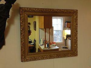 "Antique Gold Gilt Wood Mirror, 25.5"" x 22.5"""