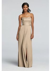 Davids Bridal Bridesmaid Dress -- F Gold Metallic Size