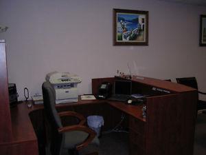 "Reception Desk and Corner Workstation Cherry Combo 71"""