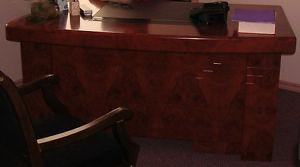 UNIQUE BURLED CHERRY BOW FRONT EXECUTIVE DESK