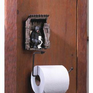 BEAR OUTHOUSE TOILET PAPER HOLDER(NEW)()(B87C)