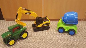 CAT Backhoe, John Deere Tractor and Cement Mixer
