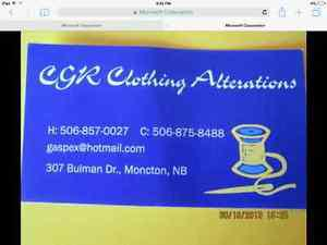 CGR Clothing Alterations at Your Service!