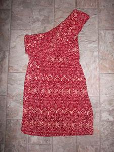 Red & cream single shoulder strap dress (size small)